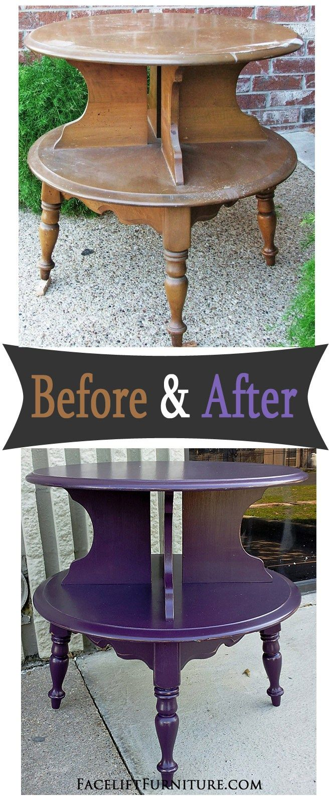 maple end table painted plum before after create rh pinterest com