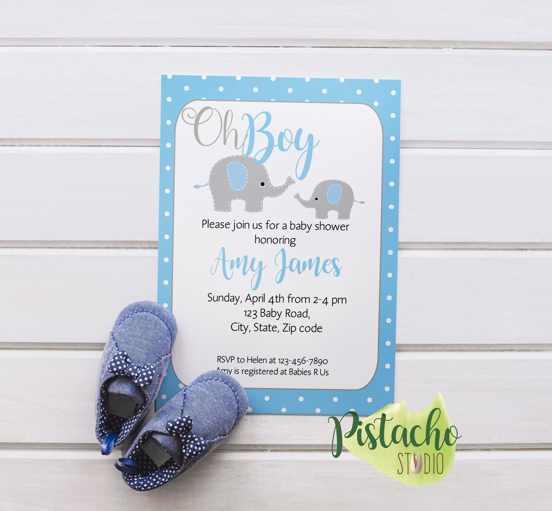 Custom Boy Baby Shower Invitation teal polka dots cute elephant