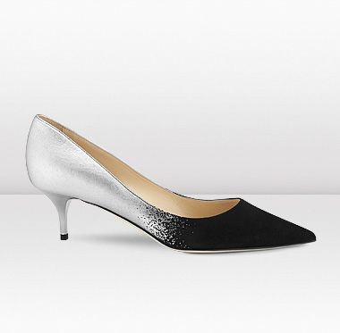 Jimmy Choo | Aza | Black Suede and Silver Dégradé Pointed Toe Pumps | JIMMYCHOO.COM