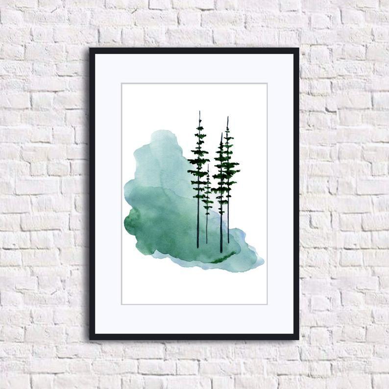 Pine Tree Print Evergreen Trees Watercolor Paintin