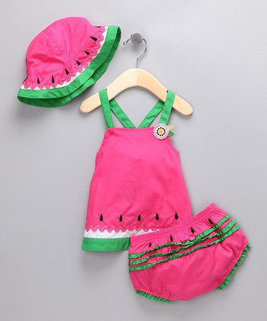 1261289192bd Pink Watermelon Dress Set...I had so many watermelon clothes when I was  little.