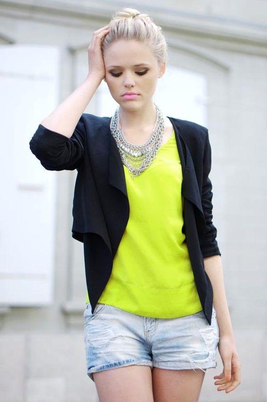 neon t-shirt#blazer#shorts
