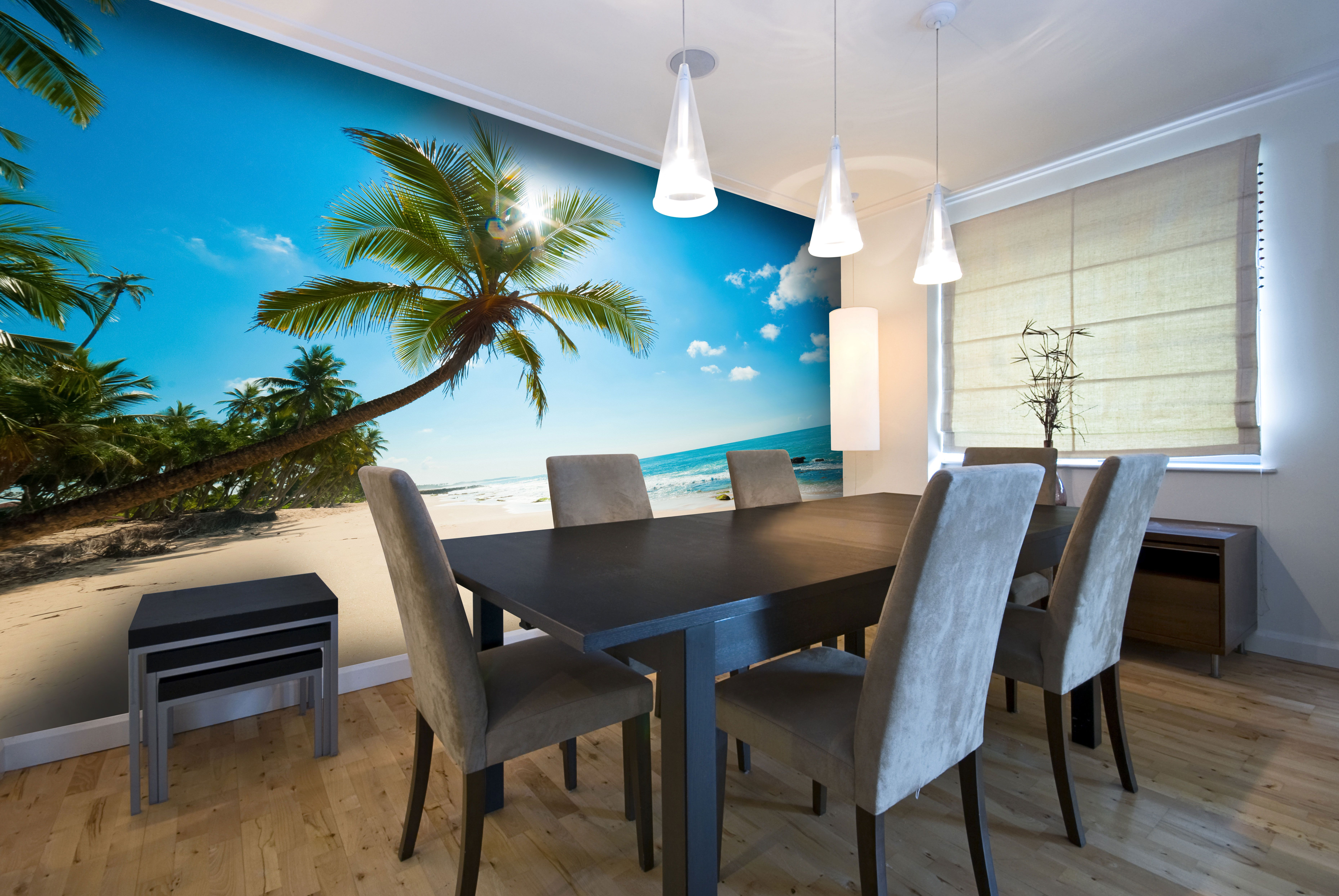Tropical beaches wall mural in kitchen (With images