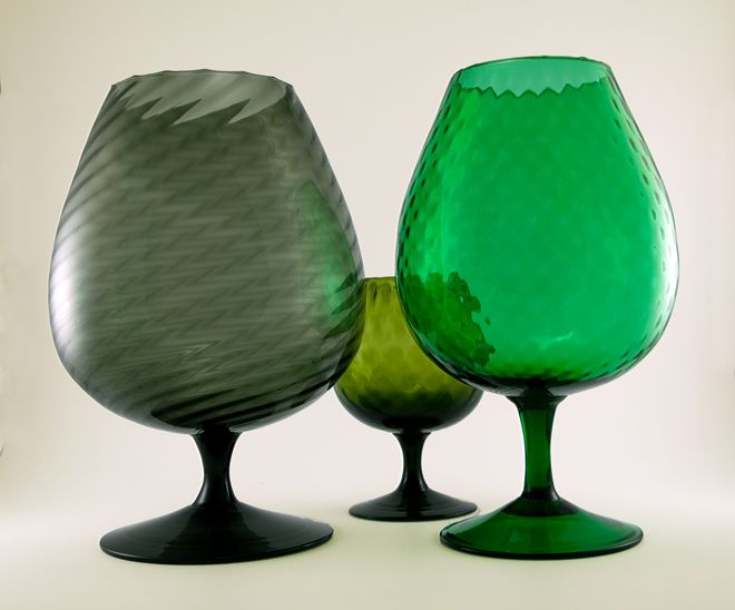 Huge Blown Glass Brandy Snifter Vases Made In The 1950s 1960s
