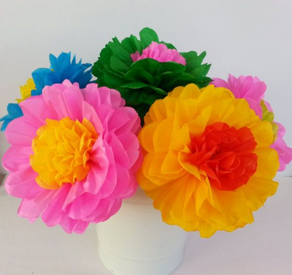 Tissue Paper Fiesta Flowers - Set of 10 flowers Decor//Birthdays ...