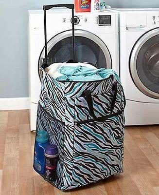 Laundry Hamper Portable Rolling Basket Bag Dorm Clothes Storage
