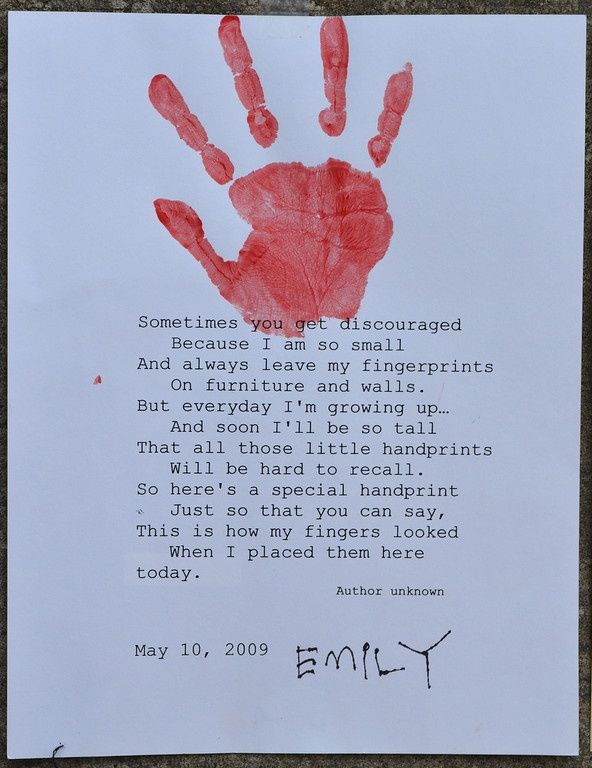 My Little Handprints Poem This Handprint Poem Is An