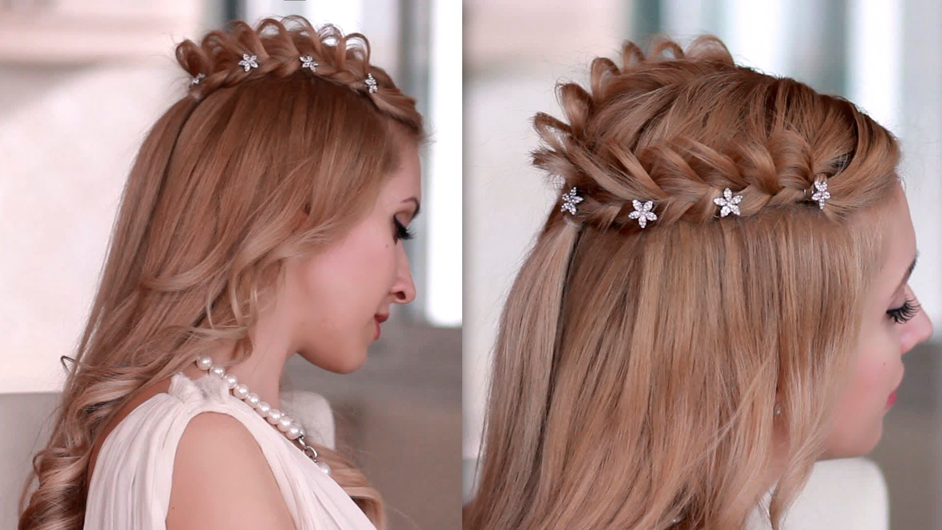 Braided Crown Halo Hairstyle For Medium Long Hair Princess Fairy Goddess Cosplay Hair Tutorial Medium Hair Styles Long Hair Styles Braided Crown Hairstyles