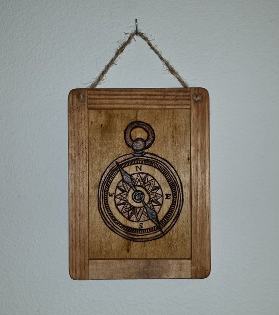 Vintage Compass // Wood Burned Wall Art by BrennenCo on Etsy