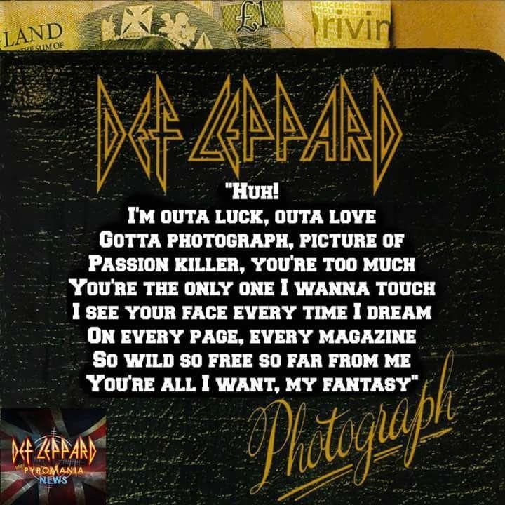 Photograph   Def Leppard   Def leppard lyrics, 90 songs, Great song