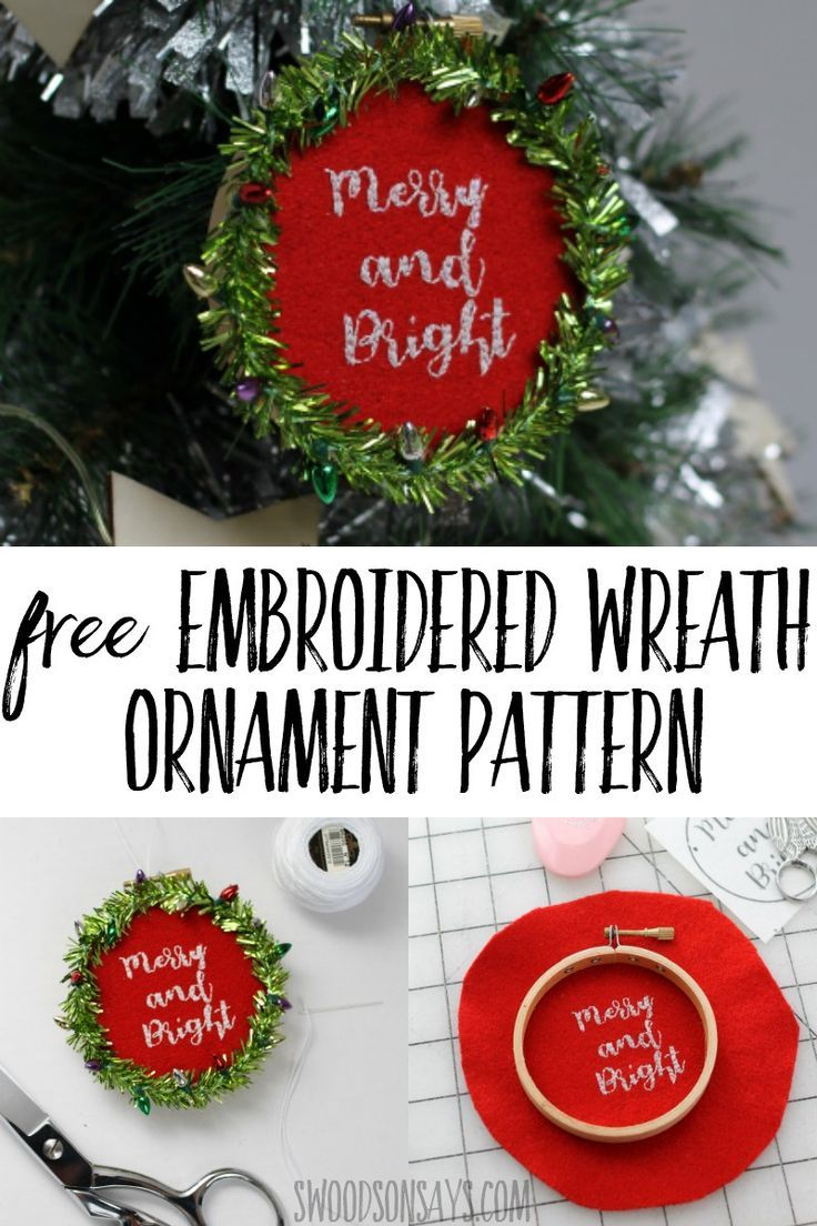 How to make an embroidered wreath ornament christmas pinterest