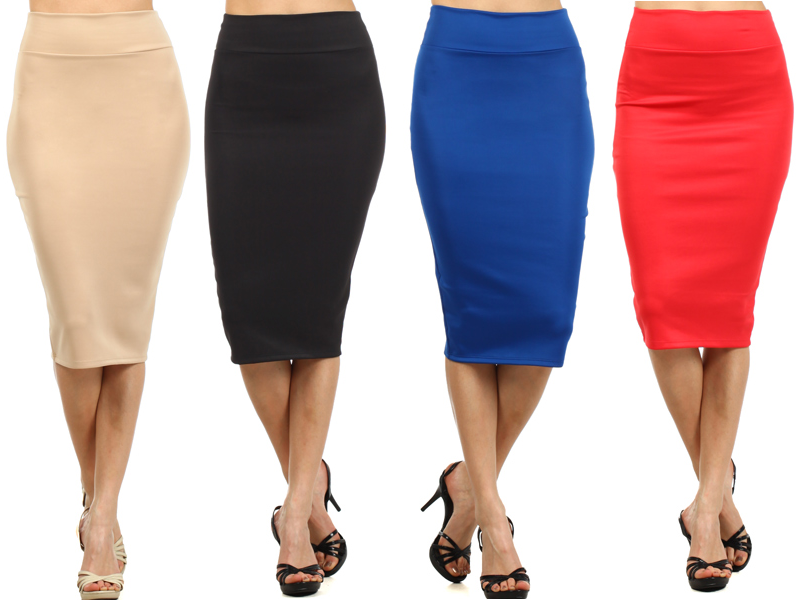 Solid Knit Fitted Pencil Straight Slim Banded Waist Midi Skirt ...