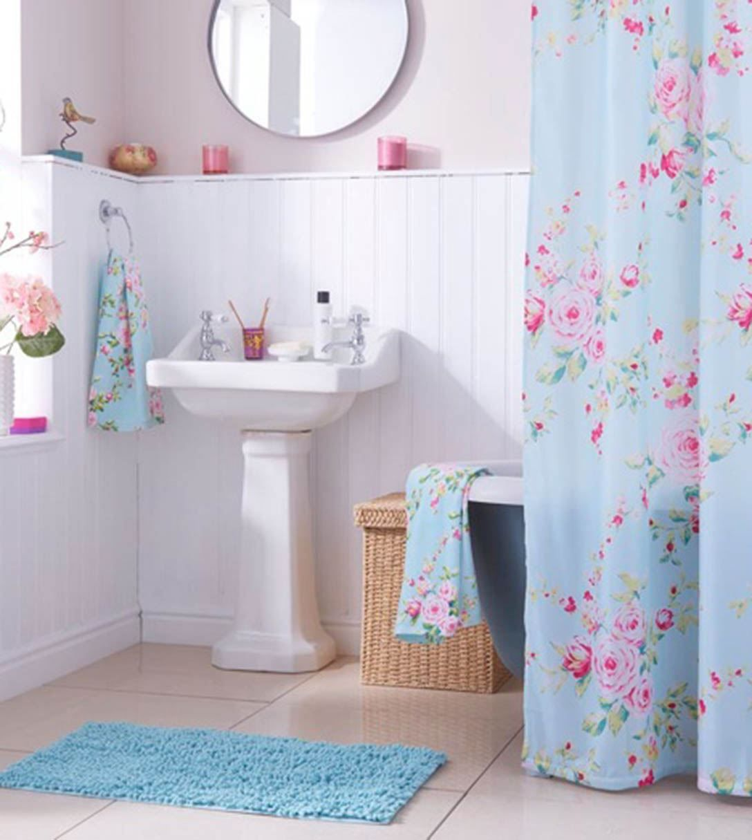 Looks Cute Floral Shower Curtainpink And Baby Blue Together - Pink and blue bathroom accessories