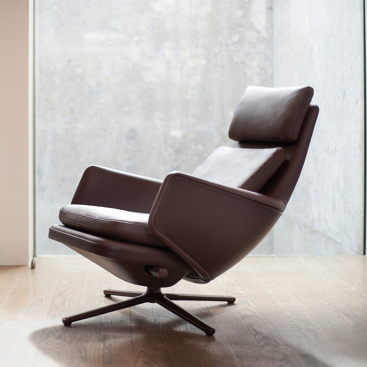 Vitra Grand Relax Sessel Aluminium Poliert Leder Premium