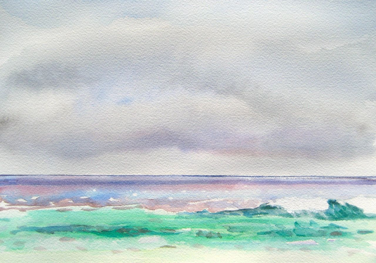 Beach Painting Clouds Over The Gulf Original Watercolor 9 X
