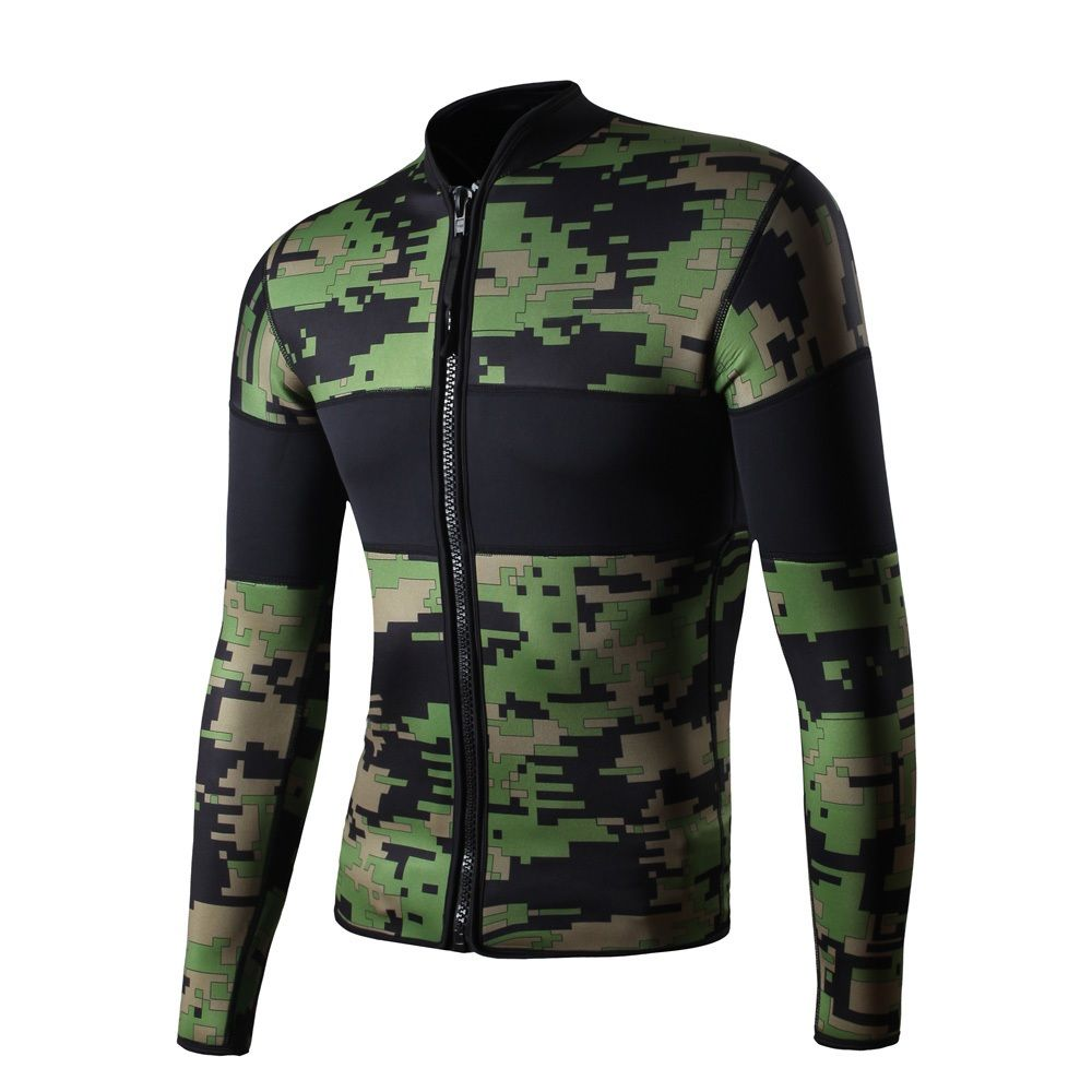 Camo 2.5mm Neoprene Long Sleeve Wetsuit Diving Jacket Snorkeling Surfing  Jacket Scuba Diving Suit for Men Thermal Wetsuits 9decf3bdcb