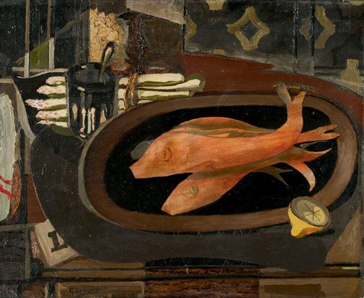 Georges braque nature morte au poisson 1936 georges for Braque peintre