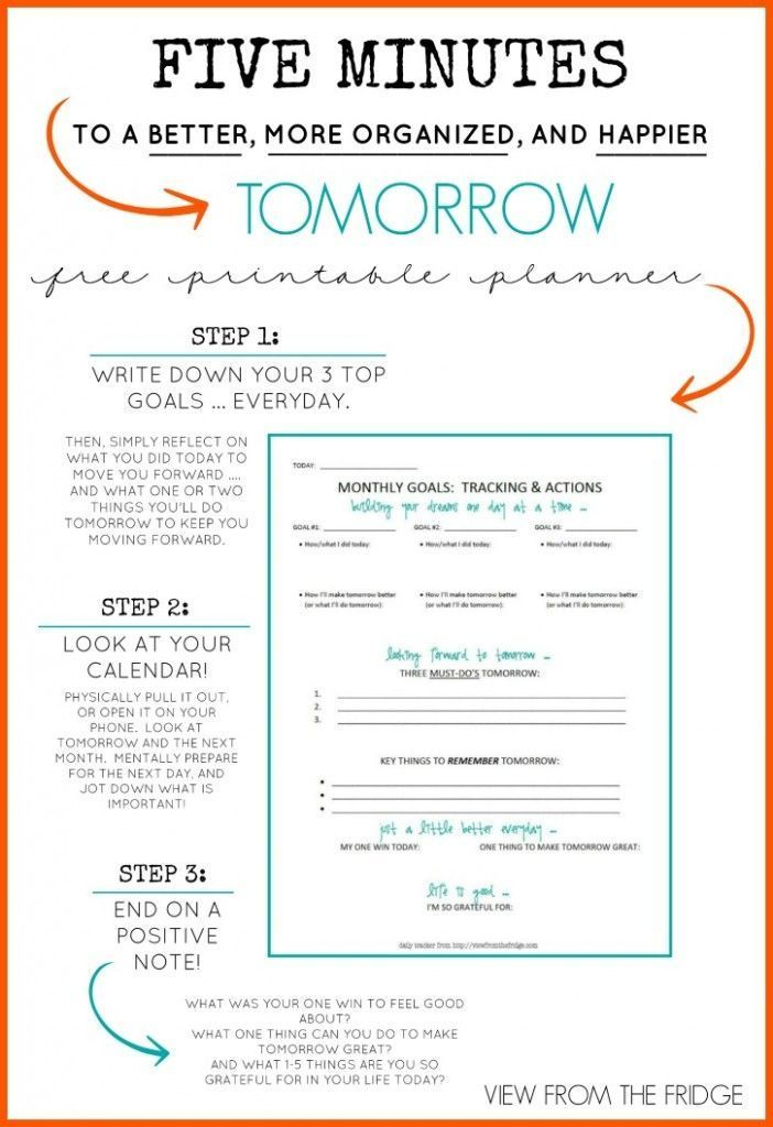 free daily planner printable 5 minutes to a better more organized and happier tomorrow free. Black Bedroom Furniture Sets. Home Design Ideas