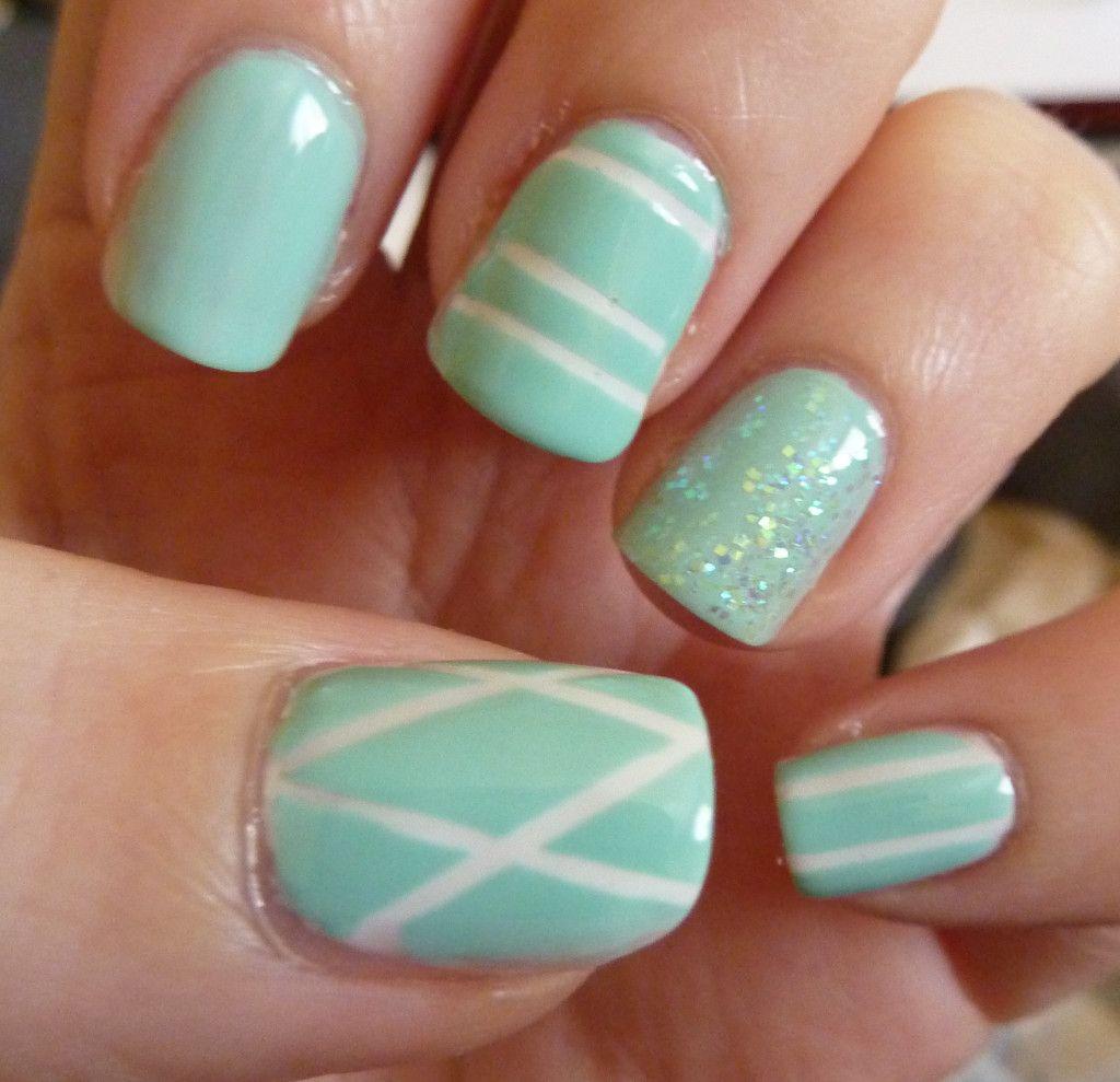 Mint nail polish with \