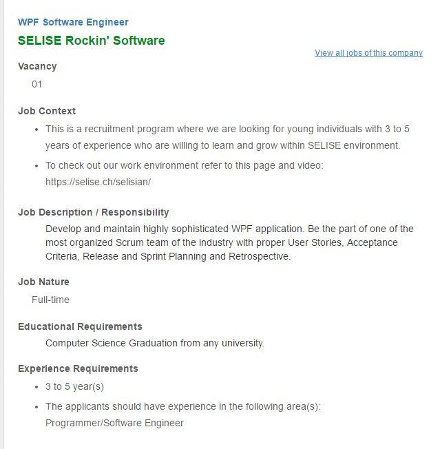 Career \u2013 SELISE Rockin\u0027 Software \u2013 WPF Software Engineer SELISE