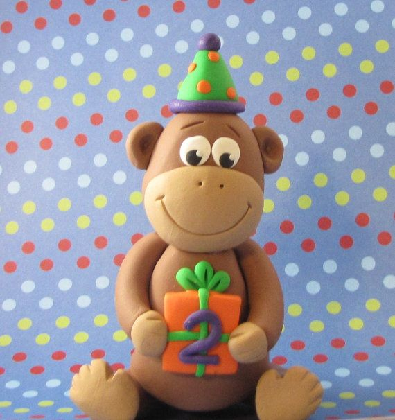 Birthday Monkey polymer clay Cake Topper