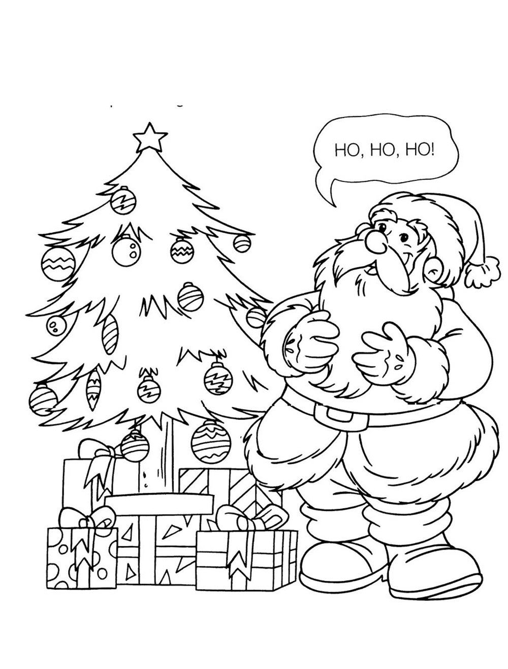 Papai Noel E Arvore De Natal Para Colorir Imagem Legal Arvore