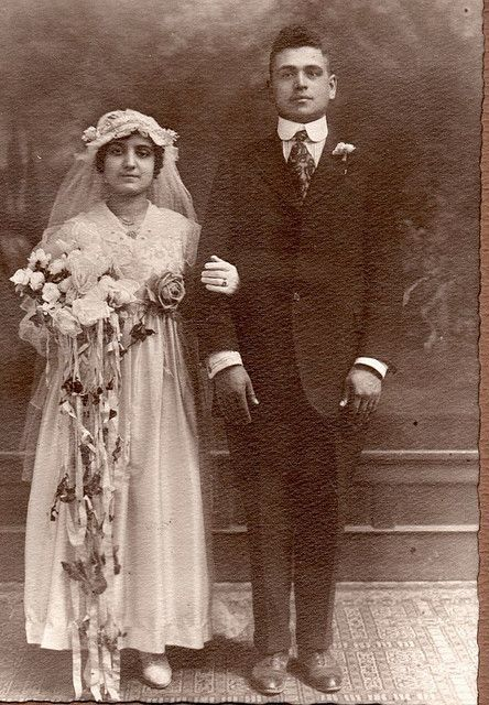 Mary and Marone Acee  1918 Wedding Photo     Utica/Rome New York