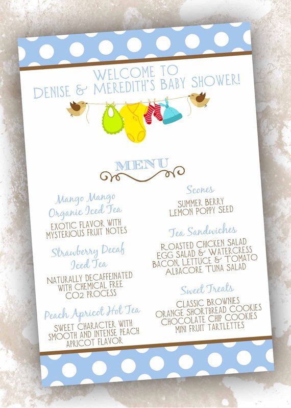 Beautiful Baby Shower Menu Cards Clothesline Theme 25 Count By DesignsByDVB,