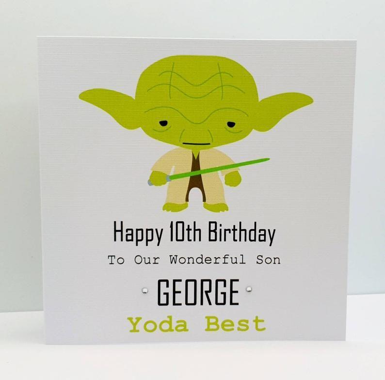 Personalised Son Birthday Card Yoda Birthday Card Star Wars Etsy In 2021 Birthday Cards For Son Birthday Cards Starwars Birthday Card