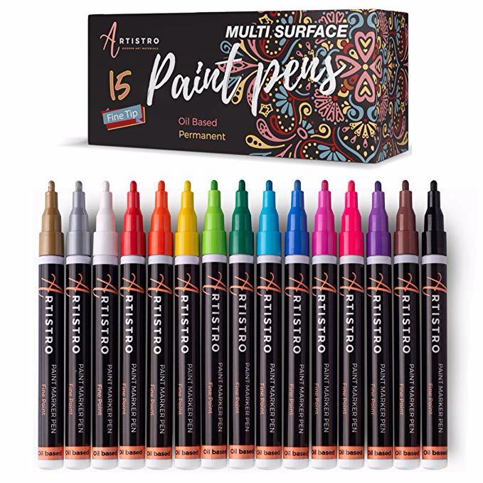 Amazon Com Paint Pens For Rock Painting Stone Metal Ceramic Porcelain Glass Wood Fabric Canvas Set In 2020 Paint Pens For Rocks Paint Pens Acrylic Paint Pens