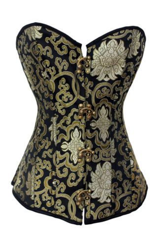 Jacquard-Floral-Gold-Steampunk-Satin-Boned-Lace-Up-Corset-Bustier-Overbust-New