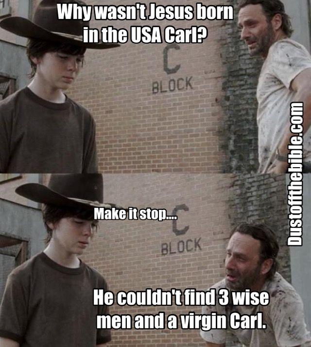 Jesus Birth Carl Walking Dead Meme #Christian Meme #USA