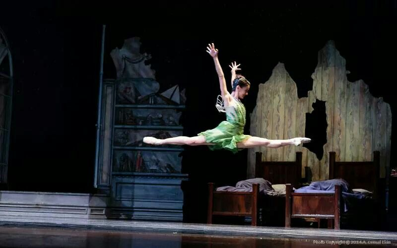 Emily Bromberg dancing in Peter Pan as Tinker Bell at Festival Ballet Theater in Providence RI. She danced for one year at Ballet San Jose.
