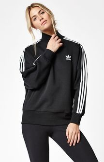 Women's Black 3 Stripes Turtleneck Sweatshirt