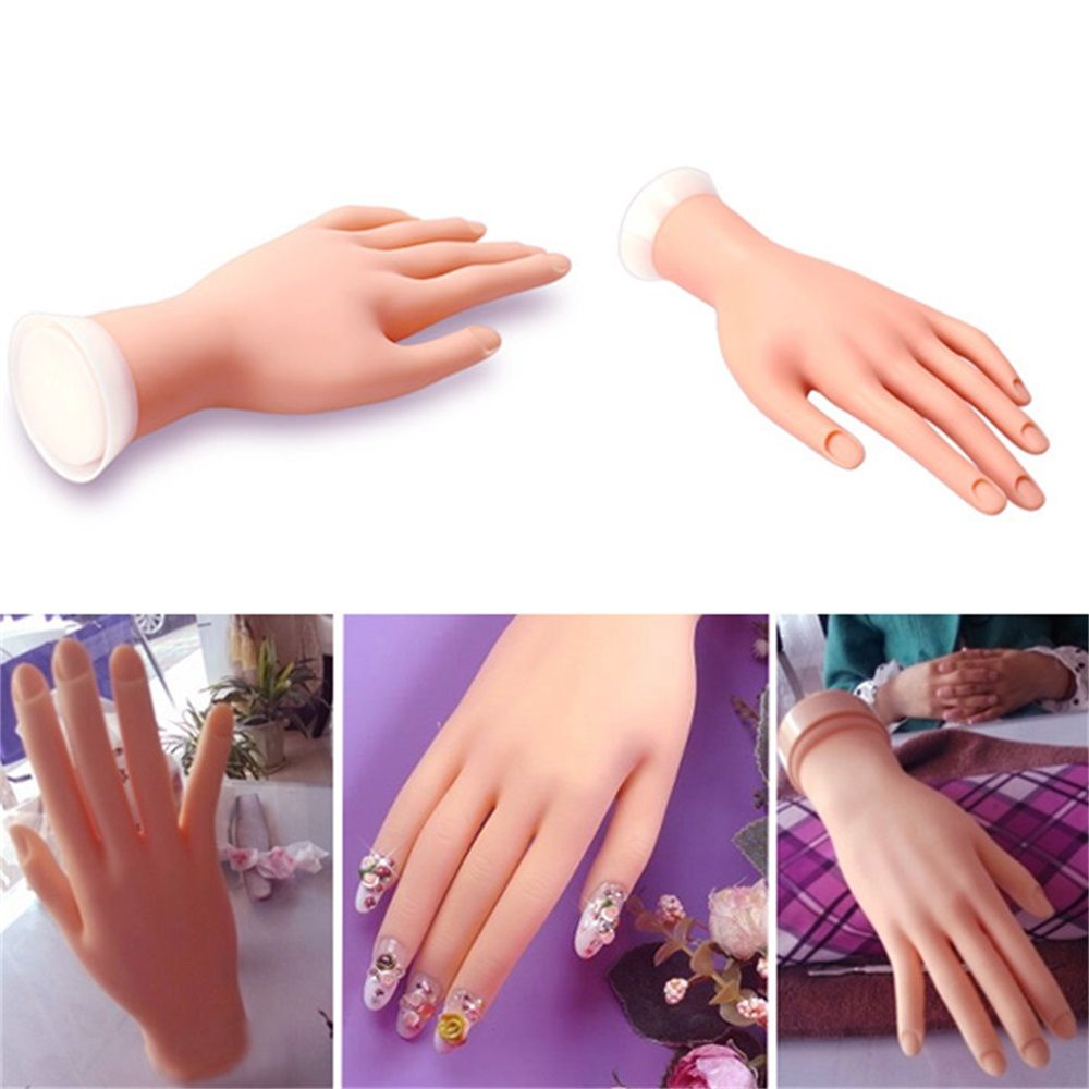 Nail Practice Hand Model Flexible Movable Soft Fake Hands For Nail Art Training Display Model Manicure Tool Nails Acce Manicure Tools Nail Art Machine Manicure