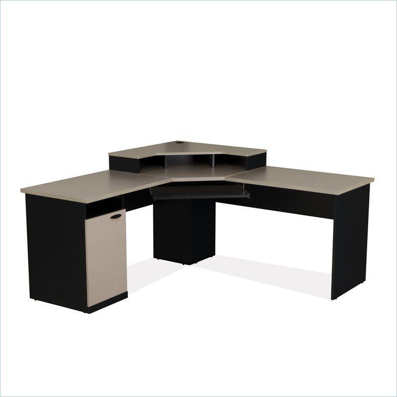 Bestar Hampton Corner Computer Desk In Sand Granite