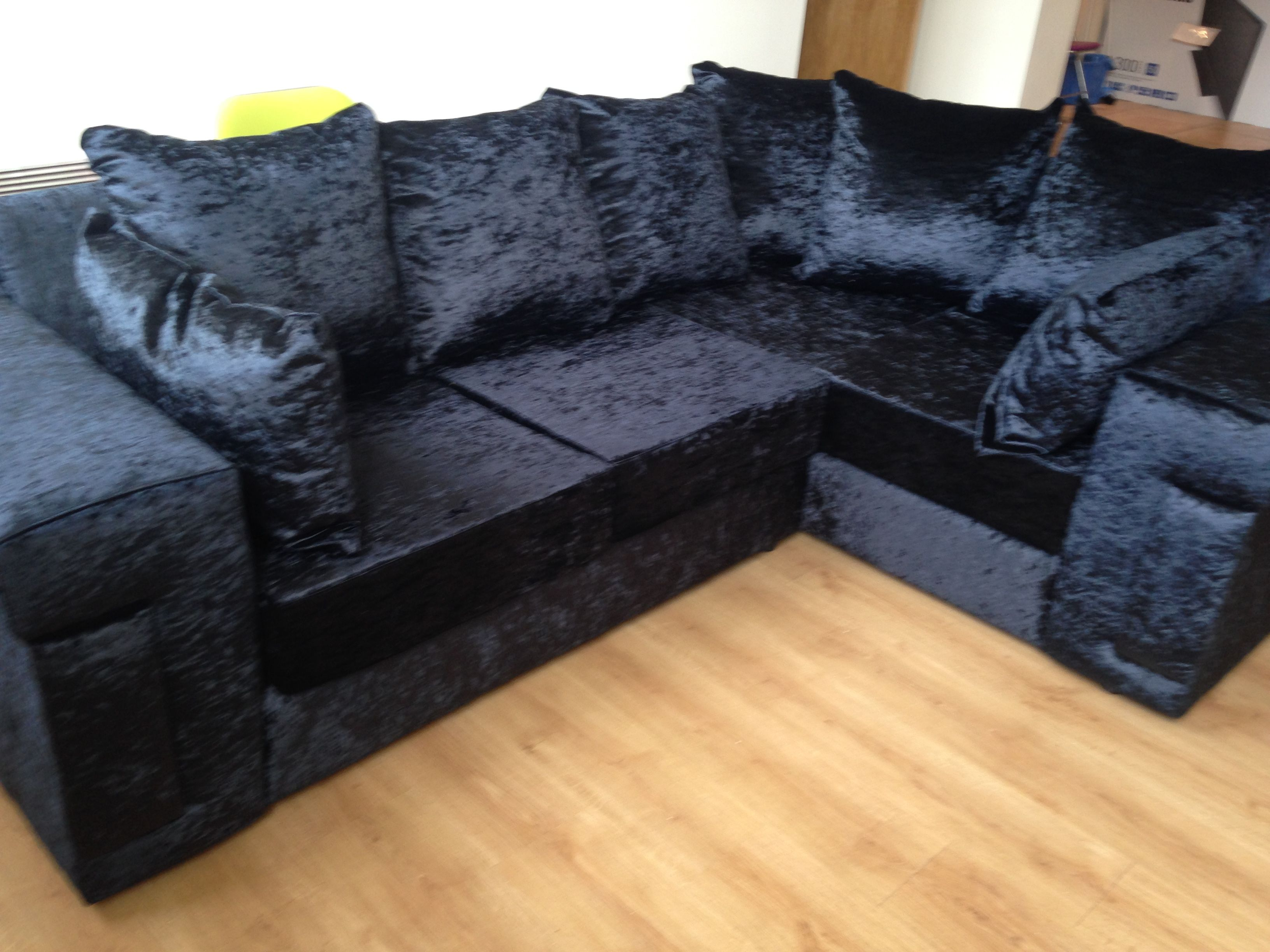 Desire all black crushed velvet corner sofa in lefthand square