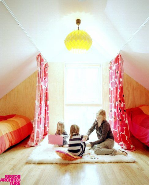 Cool way to share a bedroom curtains as walls curtains as room