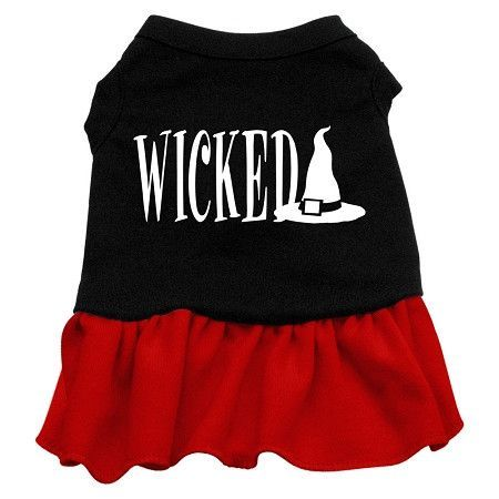 Wicked Screen Print Dress Black with Red XS (8)