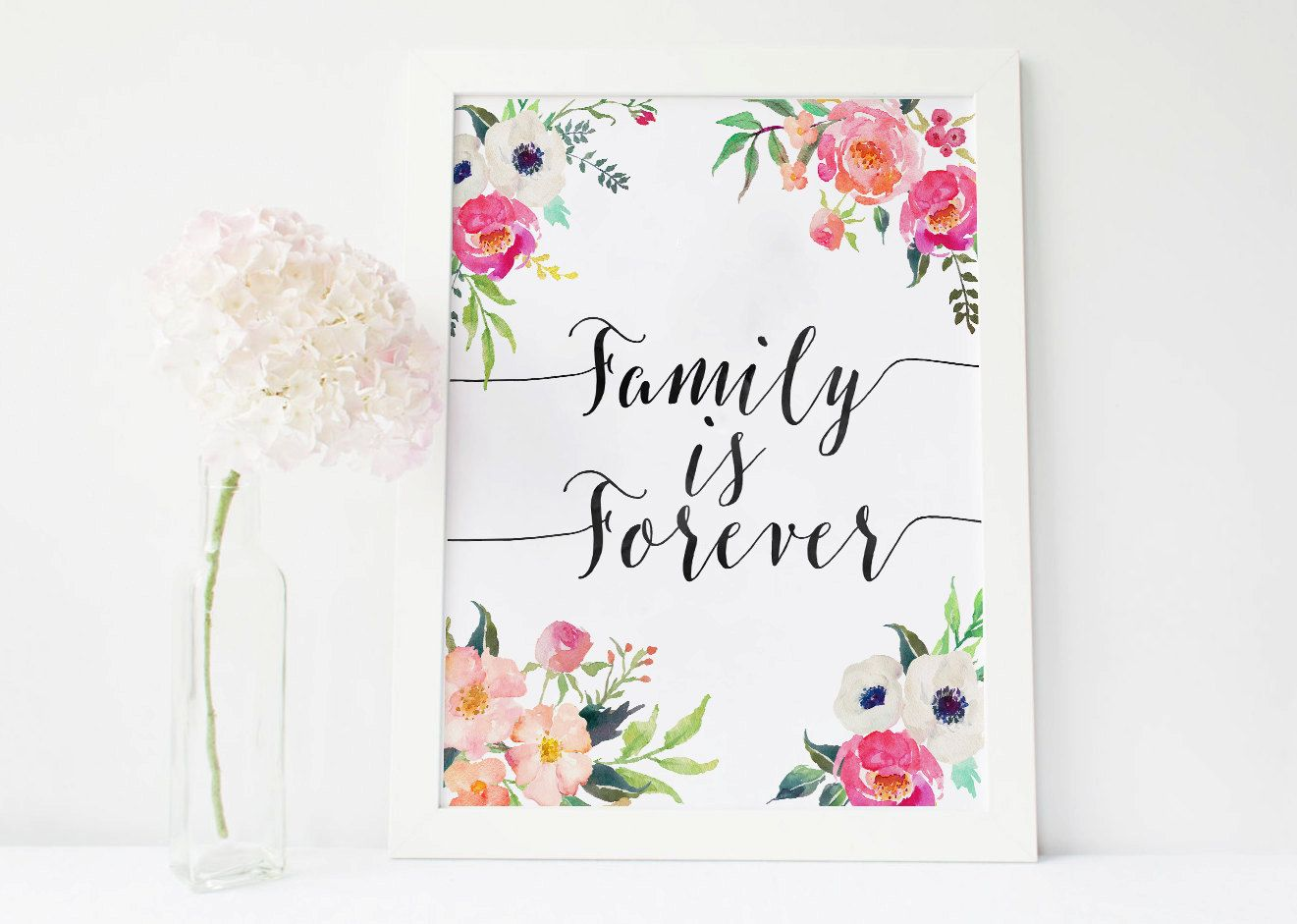 Family Is Forever Print Watercolor Floral Quote Families Are Forever