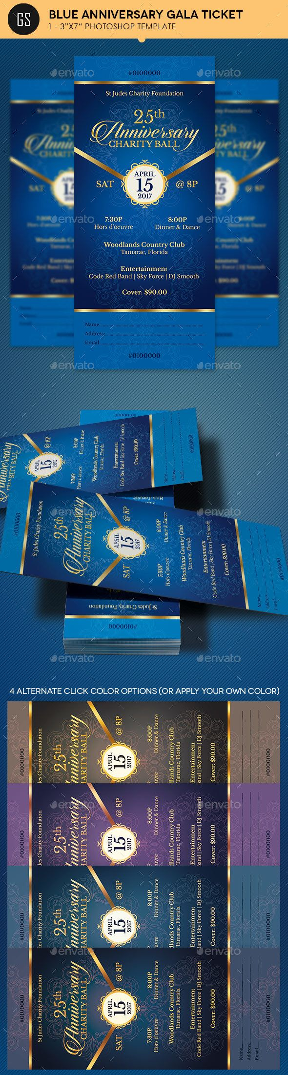 Blue Anniversary Gala Ticket Template