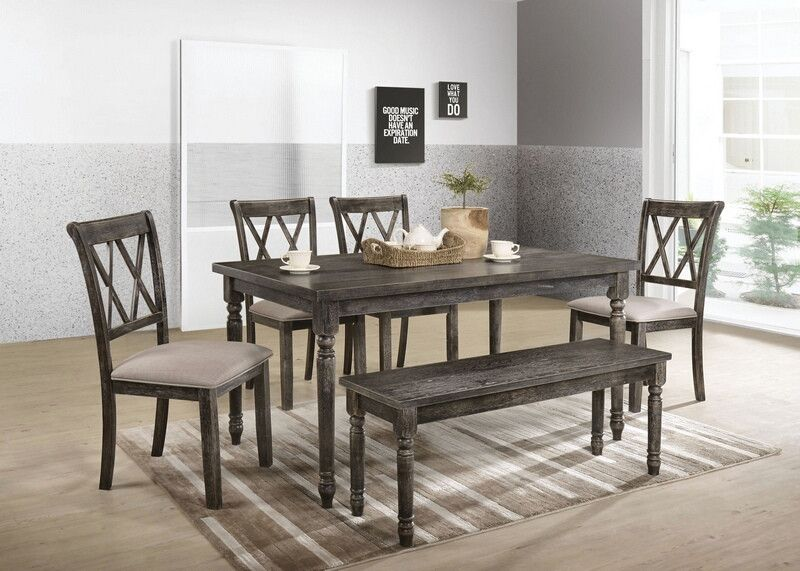 Acme 71880 82 83 6 Pc Claudia Ii Weathered Gray Finish Wood Dining