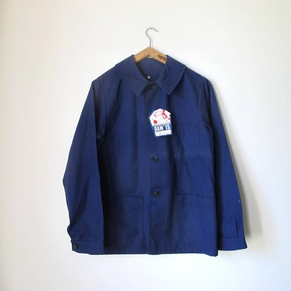 Vintage 50s French Industrial / Farmer Workwear Navy Blue cotton Sanfor jacket • size 40 • new from deadstock #frenchindustrial