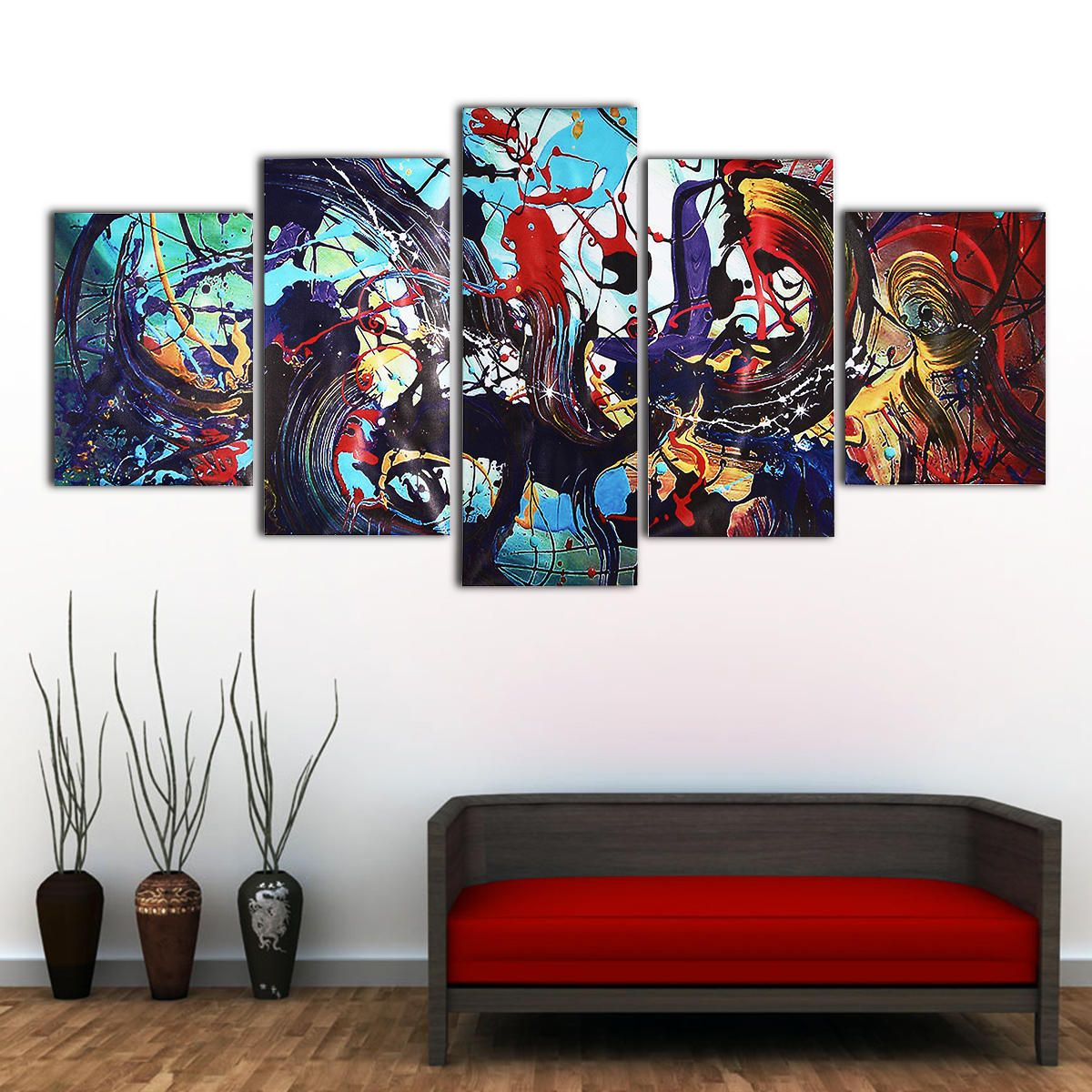 5pcs Modern Abstract Colorful Canvas Print Paintings Home Wall Art