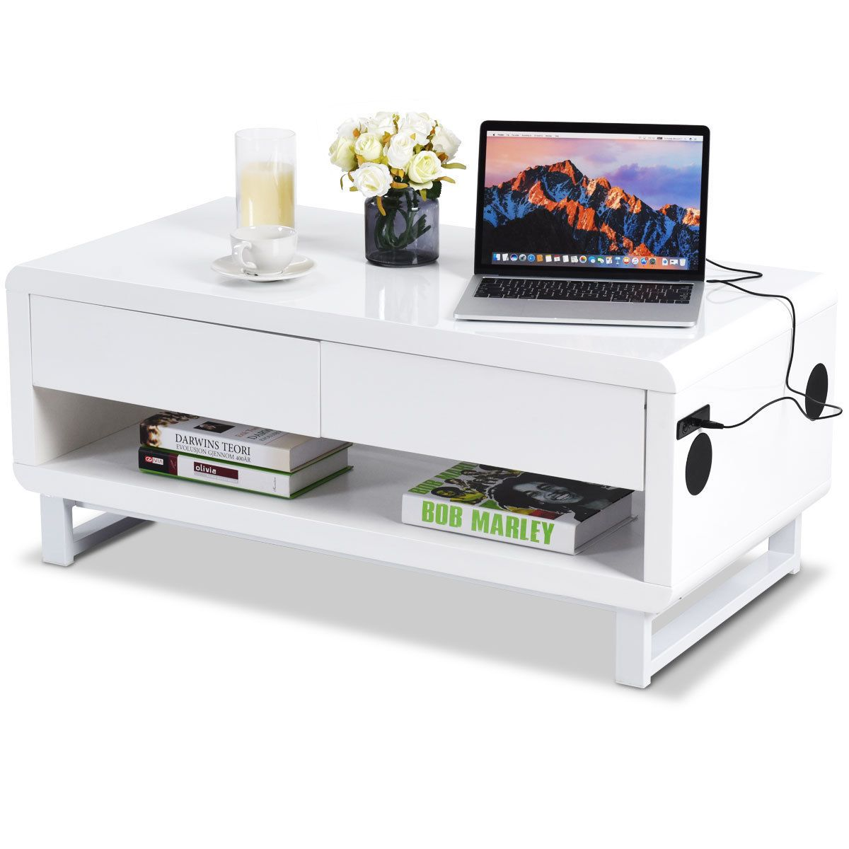 Modern Coffee Table Bluetooth Speakers Drawer Led Light Usb Charging Port Modern Coffee Tables White Coffee Table Modern Coffee Table With Storage [ 1200 x 1200 Pixel ]