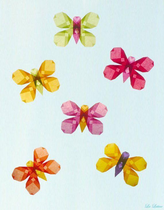 Spring Summer Set Of 6 Butterflies Window Kite Paper