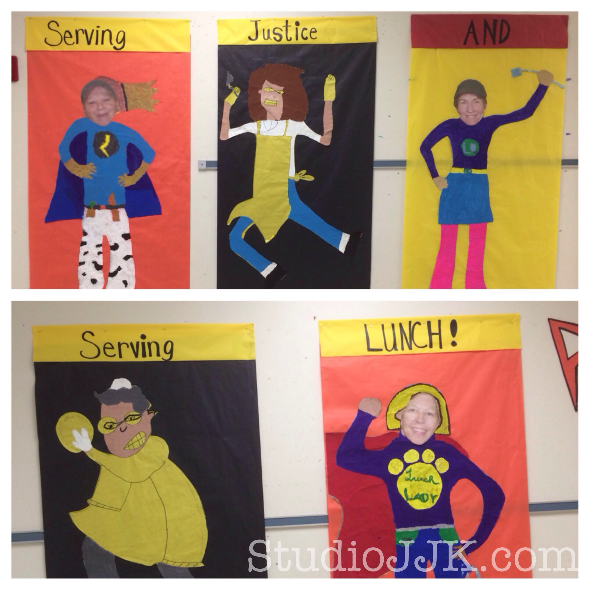 Students At Apex Elementary Turned Their Lunch Ladies Into Superheroes And Lined The School Hallwa Superhero Teacher Appreciation Superhero Theme School Themes
