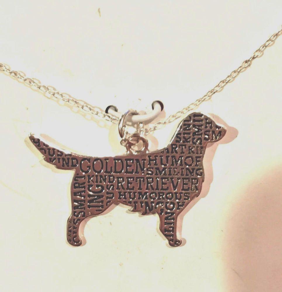 "Sterling Silver Golden Retriever Silhouette Charm Pendant Necklace W 18"" Chain #Companions #Charm"