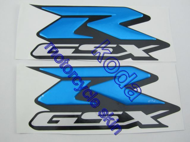 Free shipping blue r gsx gsxr 600 750 1000 motorcycle 3d decals stickers lr sides