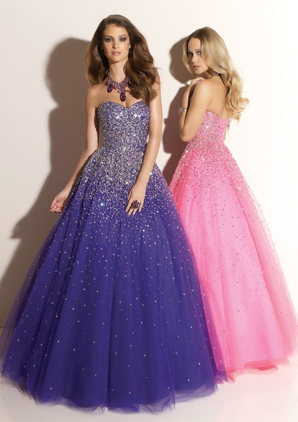 Sweetheart Strapless Beaded Sleeveless Elegant Purple Girl Prom ...